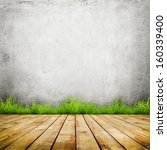 old wall and green grass on... | Shutterstock . vector #160339400