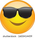 cool emoji in shades. yellow... | Shutterstock .eps vector #1603414459