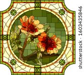 vector mosaic with blooming... | Shutterstock .eps vector #1603435846