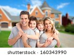 happy family near new home.... | Shutterstock . vector #160343990