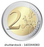 two euro coin vector...