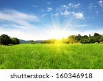 field and bright sky with sun | Shutterstock . vector #160346918