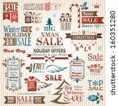 set of christmas decorative... | Shutterstock .eps vector #160351280