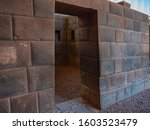 Perfect shaped stone blocks fit with each other. Gateway to the temple at the Qorikancha (Coricancha), City of Cusco, Peru.