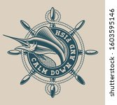 vintage nautical emblem with a... | Shutterstock .eps vector #1603595146