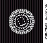 mobile phone icon inside silver ...   Shutterstock .eps vector #1603599739