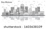 Outline Des Moines Iowa City Skyline with Modern Buildings and Reflections Isolated on White. Vector Illustration. Des Moines USA Cityscape with Landmarks.