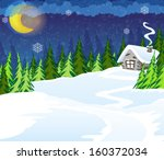 House In The Winter Coniferous...