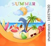 summer holiday illustration... | Shutterstock . vector #160379630