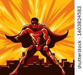 superhero watching over the... | Shutterstock . vector #1603824583