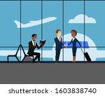 meeting and handshake of two...   Shutterstock .eps vector #1603838740