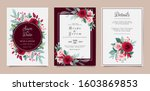 set of card with flowers.... | Shutterstock .eps vector #1603869853