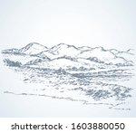 splash brook glade shrub pencil ...   Shutterstock .eps vector #1603880050