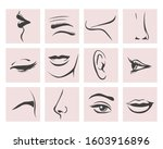 parts of female head. lips  eye ... | Shutterstock . vector #1603916896