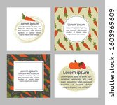 hand drawn set of 4 vegan and... | Shutterstock .eps vector #1603969609