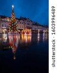 Rainy Christmas in Rzeszow. Rzeszow, Subcarpathia, Poland.