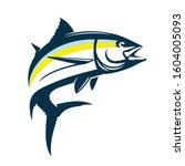 yellow fin tuna jumping logo  a ... | Shutterstock .eps vector #1604005093