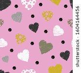 modern heart seamless pattern.... | Shutterstock .eps vector #1604164456