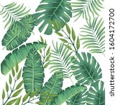 tropical leaves foliage pattern ... | Shutterstock .eps vector #1604172700