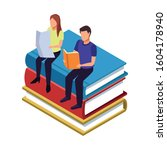people reading sitting on stack ...   Shutterstock .eps vector #1604178940