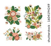 set of floral bouquet of...   Shutterstock .eps vector #1604194249