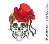 female skull with yellow long... | Shutterstock . vector #1604226733