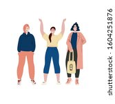 girls are standing together....   Shutterstock .eps vector #1604251876