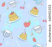 colorful pattern with pancakes  ... | Shutterstock .eps vector #160431323