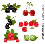 big group of fresh berries and... | Shutterstock . vector #160433873