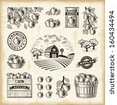 agriculture,antique,apple,background,bowl,box,branch,bucket,bushel,can,cloud,collection,crate,drawing,element
