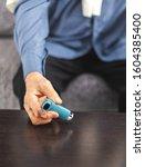 senior man reaching inhaler... | Shutterstock . vector #1604385400