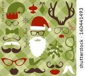retro party set   santa claus... | Shutterstock .eps vector #160441493