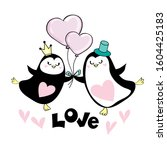two cute penguins are holding... | Shutterstock .eps vector #1604425183