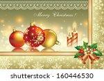 christmas card with balls and...