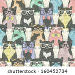 Stock vector seamless pattern with hipster cute cats for children 160452734