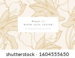 vintage card with calla lily... | Shutterstock .eps vector #1604555650