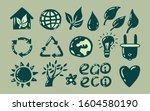 ecology iicons set. vector 2d... | Shutterstock .eps vector #1604580190