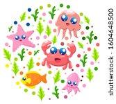 under sea world vector... | Shutterstock .eps vector #1604648500