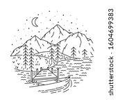 mountain lake nature line... | Shutterstock .eps vector #1604699383