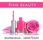 pink nail polish with rose on... | Shutterstock . vector #160470164