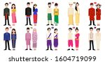 set of 20 asian men and women... | Shutterstock .eps vector #1604719099