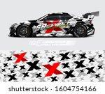 racing car wrap design vector.... | Shutterstock .eps vector #1604754166