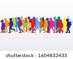 silhouette of children on white ... | Shutterstock . vector #1604832433