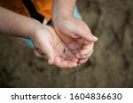 Boy holding tadpole in 2 hands