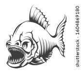 piranha fish in engraving style ... | Shutterstock . vector #1604869180