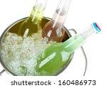 bottled drinks in ice bucket... | Shutterstock . vector #160486973