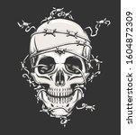 human skull in barbed wire... | Shutterstock . vector #1604872309