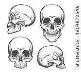 set of human skull in front and ... | Shutterstock . vector #1604872546