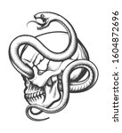 tattoo of human skull in side... | Shutterstock . vector #1604872696