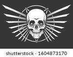 human skull against pentagram... | Shutterstock . vector #1604873170